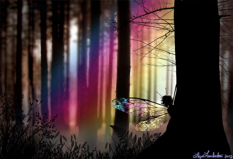 A faery peeking - by Liza Lambertini