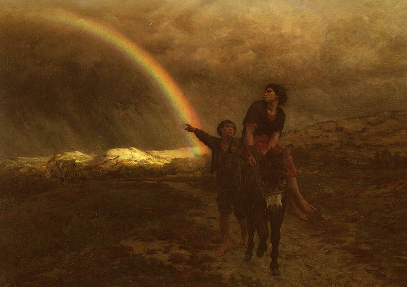 The Rainbow, painted 1883, by Jules Breton
