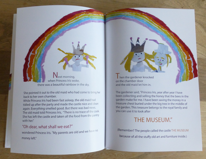 Two pages from Princess Iris and The Rainbow Museum