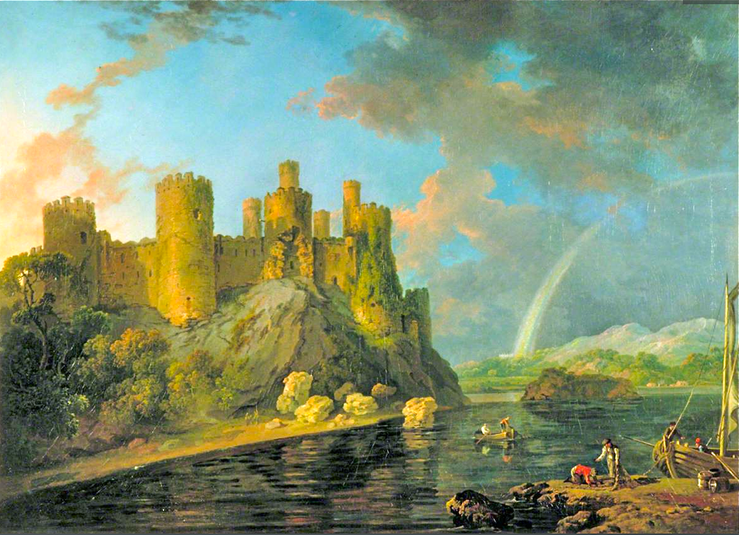 Conway Castle with rainbow after a storm, painted c. 1778, by George Barret Sr.
