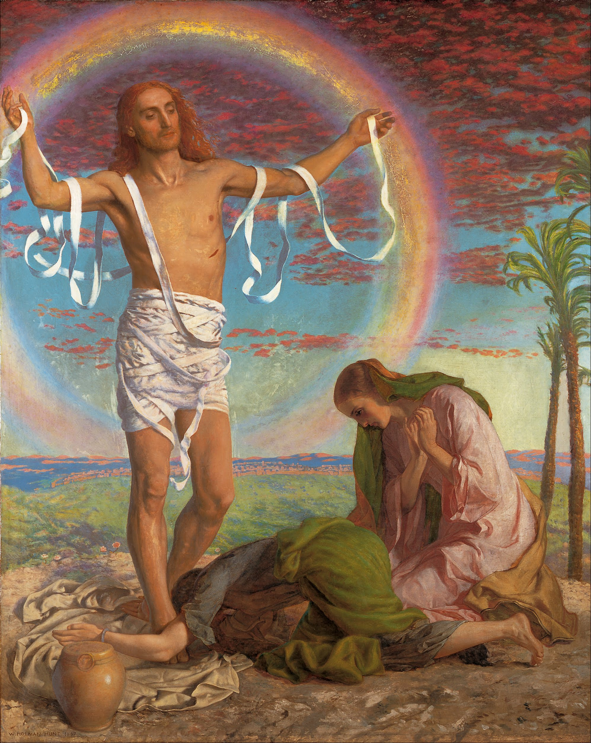 Christ and the two Marys, by William Holman Hunt, 1847 & 1897