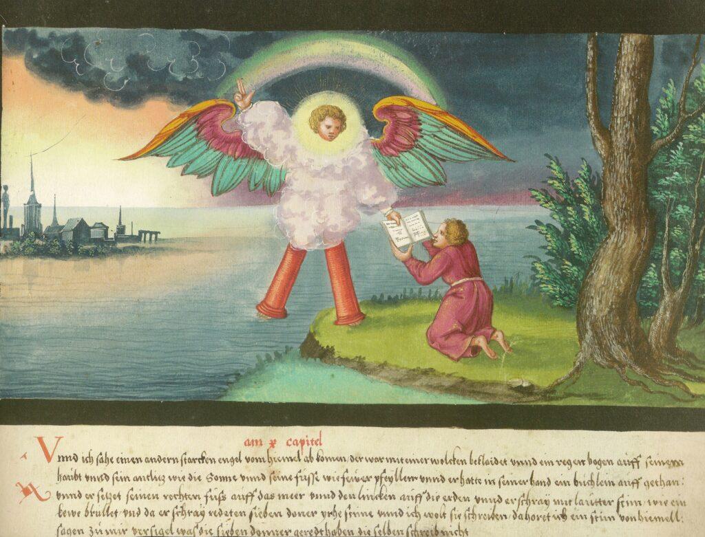 Augsburg Book of Miracles — Folio 184: John and the Angel (New Testament, Revelation 10: 1-4), circa 1552